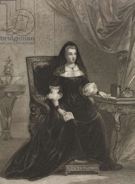 Madame de Maintenon (1635-1719), engraving by W H Mote from drawing by F J Collignon, from Picturesque annual, Versailles, ca 1840-1850, by Charles Heath (1785-1848)