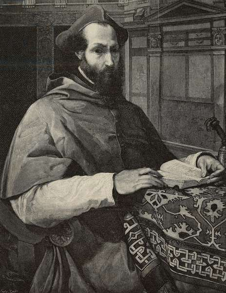 Portrait of Cardinal Marcello Cervini (1501-1555), who was elected pope in 1555, engraving by Cantagalli from painting by Jacopo da Pontormo (1494-1557) and photograph by D Anderson from L'Illustrazione Italiana, year 21, no 45, November 11, 1894