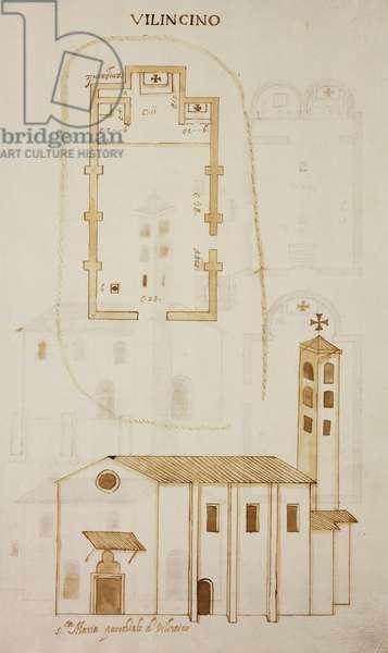 Plan and elevation of church of Saint Mary Rising, 1584, Villincino, Erba, parish of Incino Erba, Italy, 16th century