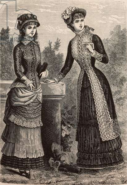 Girls' dress for ages 14-16, double voile and Pompadour silk dress, Madame Coussinet designs, engraving from La Mode Illustree, No 28, July 9, 1882