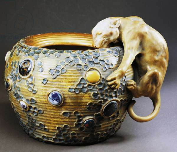 Art Nouveau style cachepot with decoration of feline, imitation enamel and encrusted hard stones, circa 1900, ceramic, Amphora manufacture, Trnovany, Czech Republic, 20th century.