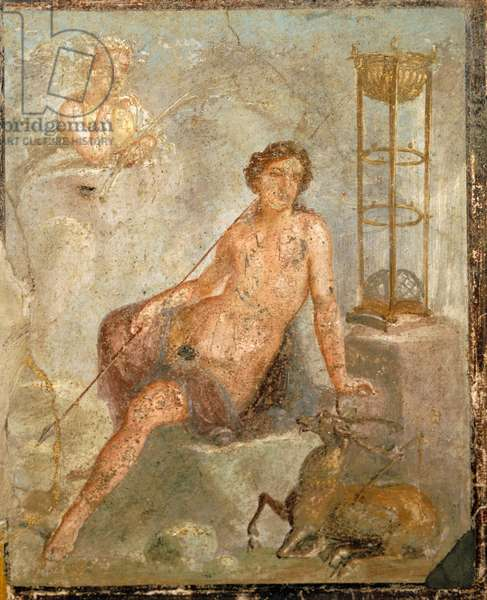 A young Cyparissus, fresco from House of Vettii, Pompeii , Campania, Roman Civilization, 1st Century