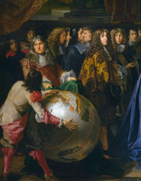 Terrestrial globe, detail of Jean-Baptiste Colbert presenting Members of Royal Academy of Sciences to Louis XIV in 1667, oil on canvas by Henri Testelin (1616-1695), cm 348x590, France, 17th century Detail