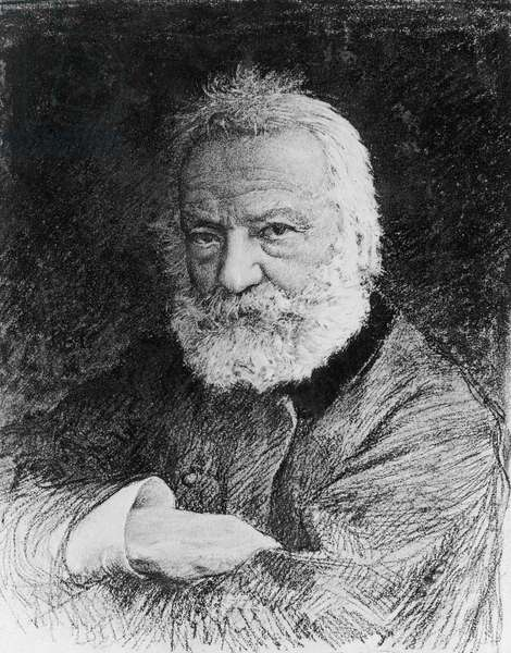 Portrait of Victor Hugo (1802-1885), French poet, novelist, and dramatist of Romantic movement, engraving, drawing by Jules Bastien-Lepage (1848-1884) after photograph by Nadar (1820-1910)