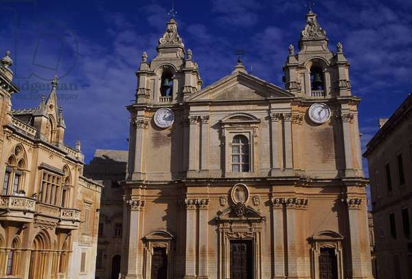 Mdina, Facade of St. Peter & Paul Cathedral, 13th century