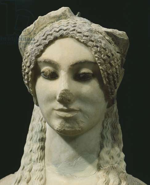 Kore 674, Paros marble statue from archaic age, from Acropolis in Athens,Greece, Detail, Greek Civilization, ca 500 BC