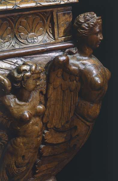 Female figures, detail from sarcophagus form walnut wedding chest with carved reliefs, Italy, 16th century