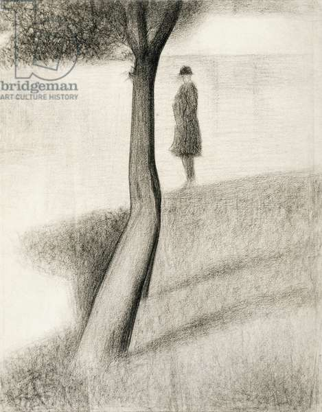 Man standing next to tree; study on La Grande Jatte, 1884-1885, by Georges Seurat (1859-1891), pencil on paper