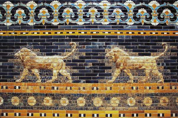 Bas-reliefs of two lions along Processional Way, reconstruction in Pergamon Museum, Berlin, Germany, Babylonian civilization, 2nd millennium - 6th century BC, Detail
