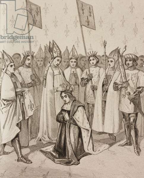 Coronation of King Charles VI of France, engraving by Lemaitre from France, deuxieme partie, L'Univers pittoresque, published by Firmin Didot Freres, Paris, 1845