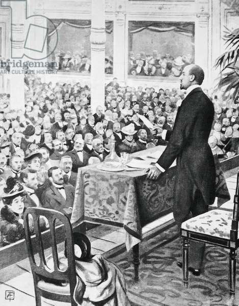 Gabriele d'Annunzio (1863-1938) reading Song of Garibaldi at Olympia theater in Milan, engraving from L'Illlustrazione italiana, 1901, Italy, 20th century
