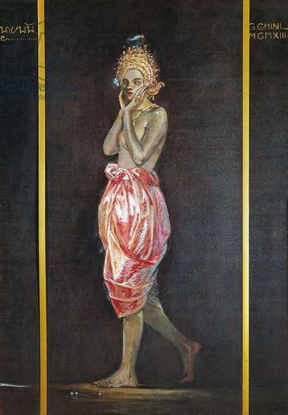 Mesu, the actress, 1913, by Galileo Chini (1873-1956), oil on canvas, 200x138 cm. Italy, 20th century.