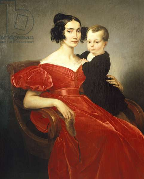 Portrait of Teresa Zumali Marsili with her son Giuseppe, by Francesco Hayez (1791-1882), oil on canvas, 135x100 cm, 1833