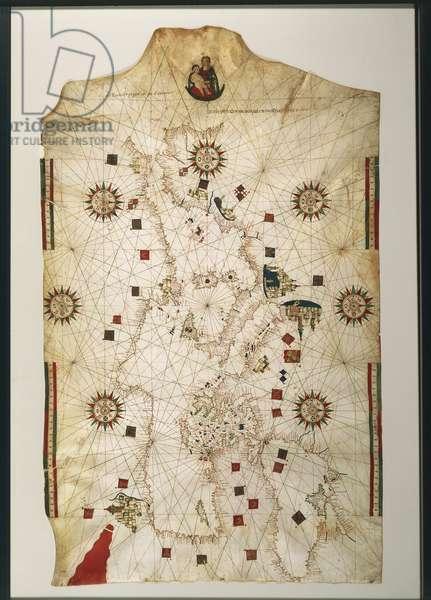 19th century copy of the nautical planisphere by Juan de la Cosa, 1500
