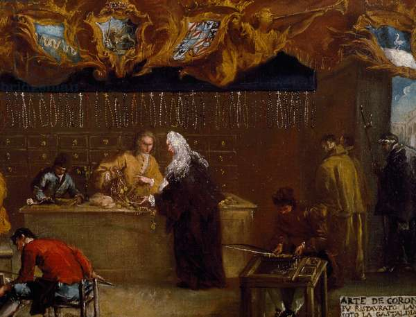 Signboard of Guild of Coroneri (rosary making) in Venice, 1750, painting by Francesco Guardi (1712-1793), Detail