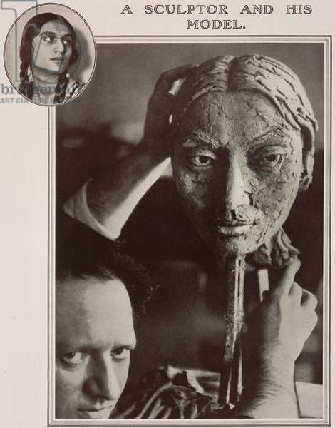 British sculptor Jacob Epstein (1880-1959) with a bust of Sunita Devi (ca 1897-1932), photograph by Maurice Beck and Helen MacGregor from The Tatler, No 1388, February 1, 1928, London