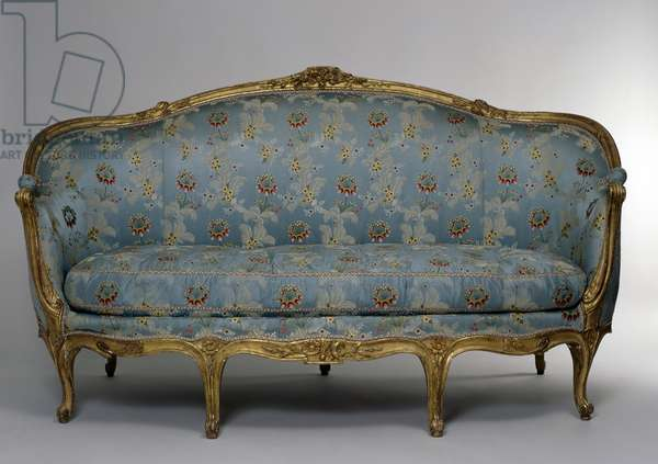 Louis XV style carved and gilt wood grand corbeille canape (elegant sofa), France, 18th century