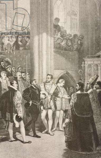 Charles V received from Francis I at the abbey of Saint-Denis in 1540, lithograph by Charles Kreutzberger (1829-1909) from painting by Antoine-Jean Gros (1771-1835)