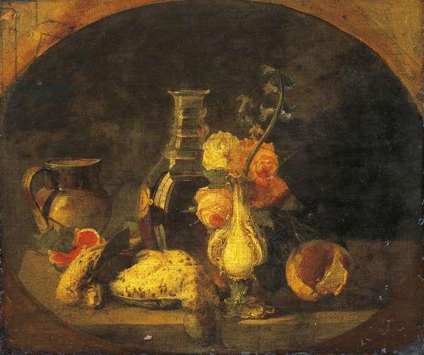 Still life, by Luigi Scrosati (1814-1869), oil on canvas, 43x50 cm