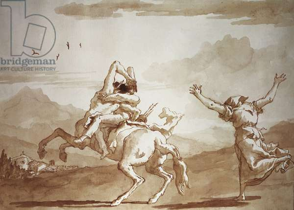 Pulcinella kidnapped by the centaur, 18th (pen, ink, watercolour on paper)
