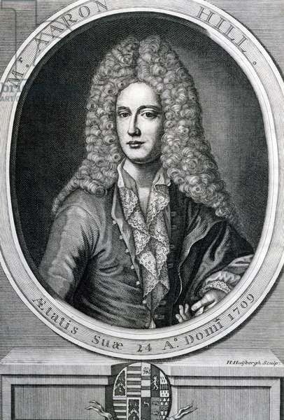 Portrait of Aaron Hill (1685-1750), English playwright and writer. Engraving