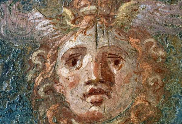 Medallion with Gorgon's head, right wing in House of the Vettii, Pompeii (UNESCO World Heritage List, 1997), Campania, Italy, Roman civilization, 1st century AD, Detail