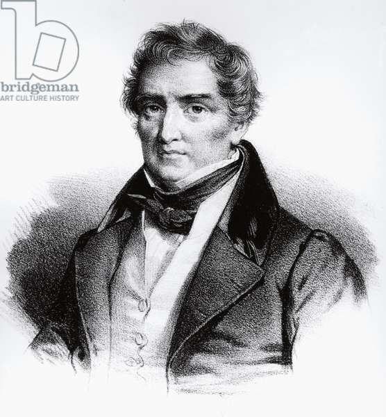 Portrait of Francois Joseph Victor Broussais (1772-1838) French physician, engraving