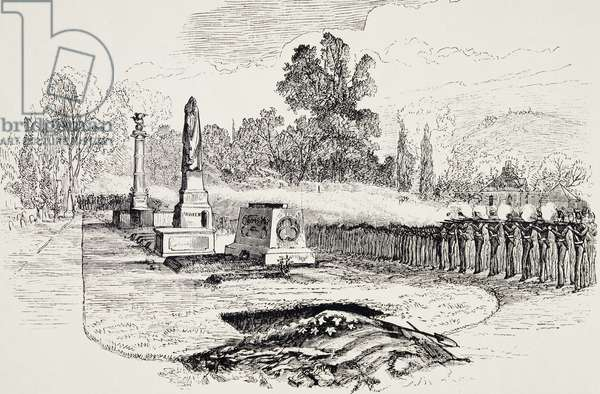 Gun salute in honor of General George Armstrong Custer (1839-1876), before burial, engraving. Indian wars, United States, 1876