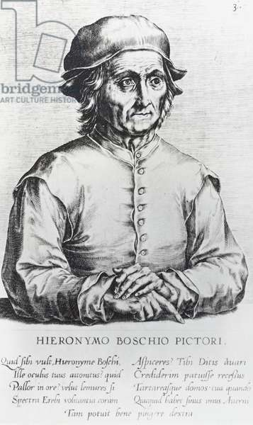 Portrait of Hieronymus Bosch pseudonym of Hieronymus Anthoniszoon van Aeken ('s-Hertogenbosch, 1450-1516), Flemish painter, 1572, engraving by Dominicus Lampsonius (1532-1599)