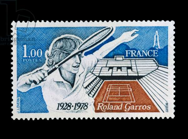 Postage stamp commemorating 50th anniversary of Roland Garros stadium, 1978, France, 20th century