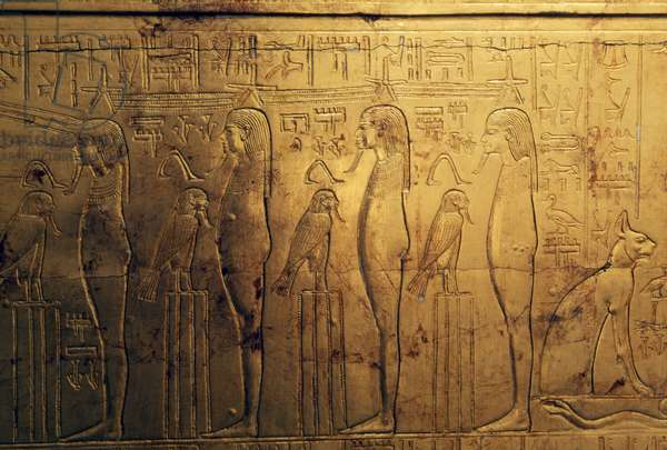 Reliefs of first register of outer panel of second funeral chapel, Treasury of Tutankhamun, Egypt, Egyptian civilization, New Kingdom, Dynasty XVIII