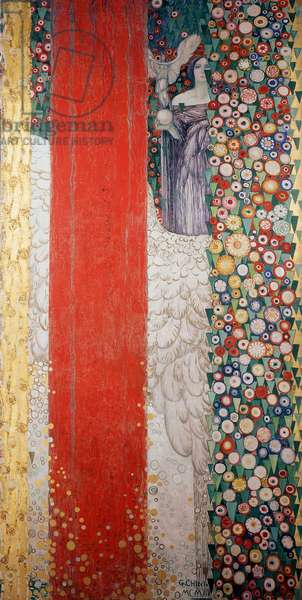 The classic spring, by Galileo Chini (1873-1956), tempera, oil, stucco and gold on canvas, 390x330 cm. Detail. Panels made for the Mestrovic Hall at the Venice Biennale. Italy, 20th century.