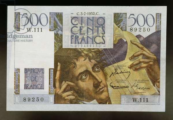 500 francs banknote, 1952, Obverse, Francois-Rene de Chateaubriand (1768-1848). France, 20th century
