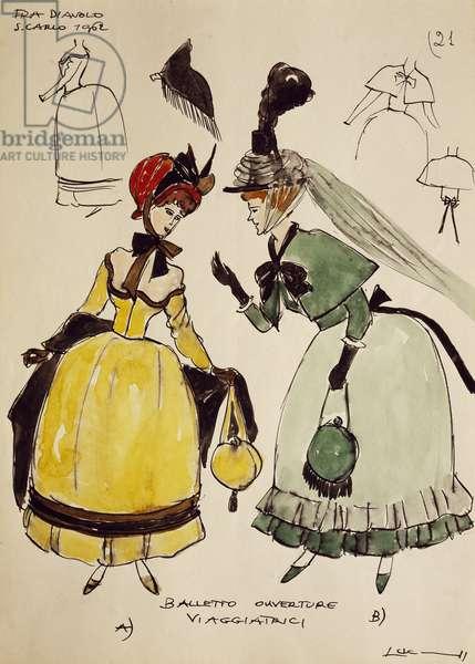 Costume sketch for travelers of opera Fra Diavolo (1830), by Daniel Francois Auber, 1962