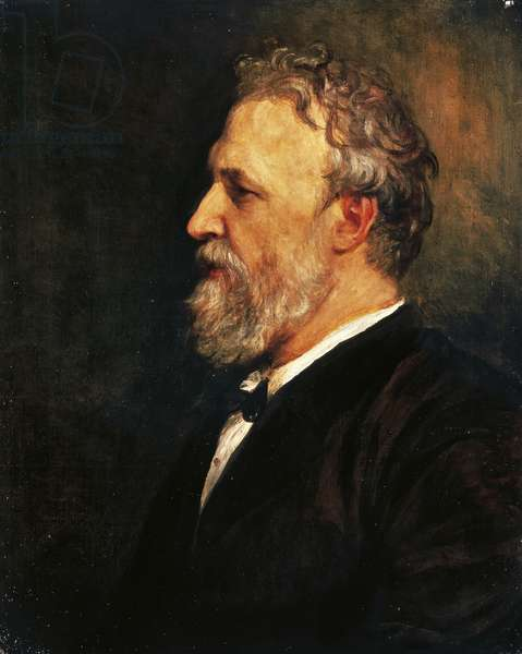 Portrait of Robert Browning (Camberwell, 1812 - Venice, 1889), English poet and playwright, Oil on canvas by George Frederic Watts (1817-1904), 1866, 66.4 x53.8 cm