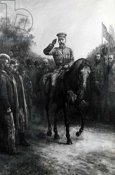British commander Horatio Herbert Kitchener (1850-1916) with Boer leaders, 1902, illustration from painting by Johann Nepomuk Schonberg, Boer War, South Africa, 20th century