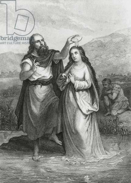 Cymodoce baptized by Jerome in River Jordan, illustration for Martyrs, prose epic by Francois-Rene, vicomte de Chateaubriand (1768-1848), engraving after drawing by Pierre Gustave Eugene Staal (1817-1882), from Parisian edition published in 1859