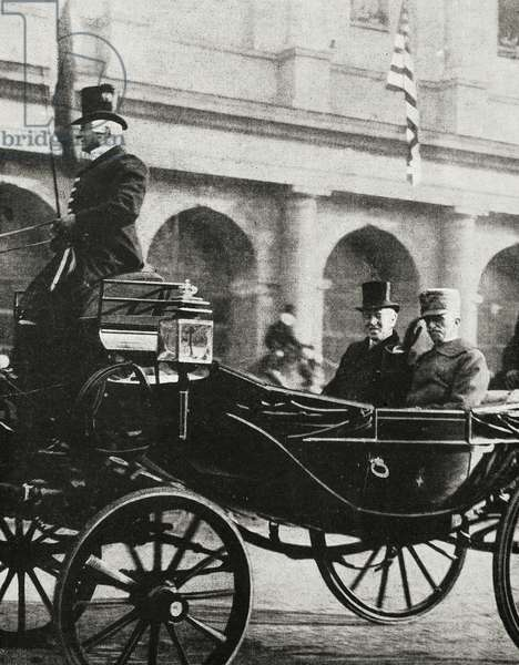 King Victor Emmanuel III of Italy (1869-1947) and President of United States Thomas Woodrow Wilson (1856-1924) on carriage, outside Rome train station, Italy, from magazine L'illustrazione italiana, year XLVI, no 2, January 12, 1919