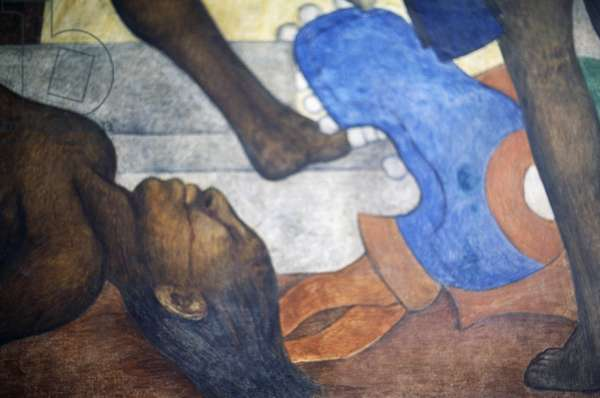 Conquest of Tenochtitlan detail from Mexico traves de los siglos (Mexico through the centuries), 1929-1951 (mural)