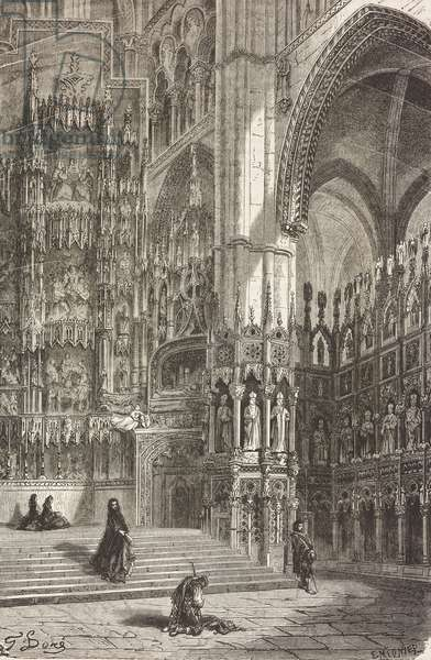 Interior of Toledo cathedral, Castile-La Mancha, Spain, drawing by Dore, from Travels in Spain by Gustave Dore (1832-1883) and Jean Charles Davillier (1823-1883)