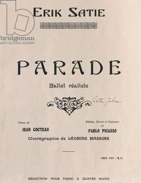 Title page of Parade, ballet by Erik Satie (1866-1925), theme by Jean Cocteau (1889-1973) and with set and costumes by Pablo Picasso (1888-1973), 1917, 20th century
