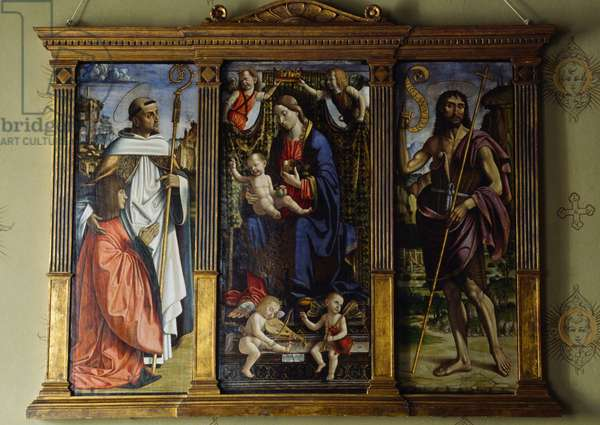 Madonna and Child with four angels, St Bernard of Clairvaux and Hannibal Palaeologus (left), St John Baptist (right), 1499, triptych by Macrinus d'Alba (active 1495-1515, died after 1528)