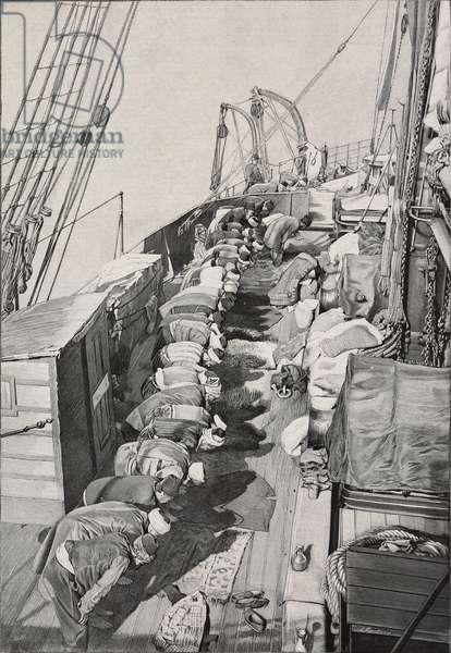 Turks praying on steamship heading to Jeddah, pilgrimage to Mecca, Saudi Arabia, illustration from L'Illustration, No 3029, March 16, 1901
