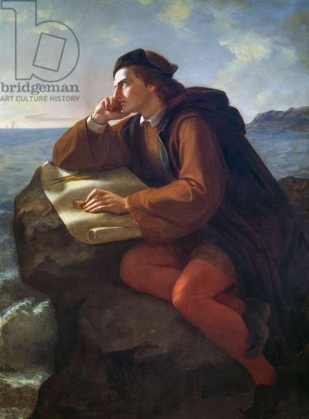 Inspiration of Christopher Columbus, 1856, painting by Jose Maria Obregon