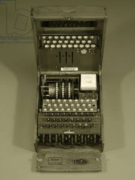 Enigma cipher machine with three rotors viewed from above (photo)