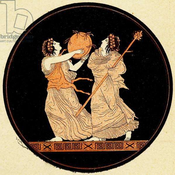 A pair of maenads, Illustration from Notor's Lysistrata,  1898 (litho)