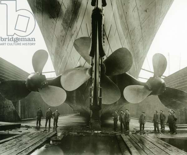 The Titanic's propellers in the Thompson Graving Dock of Harland & Wolff, Belfast, Ireland, 1910-11 (photo)