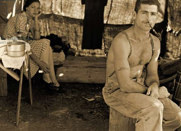 Unemployed lumber worker and his wife, Oregon, 1939 (sepia photo)
