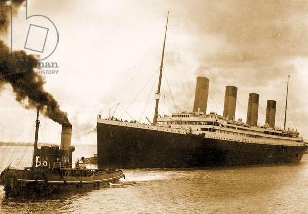 Titanic leaving port on it's maiden voyage, C1912 (photo)