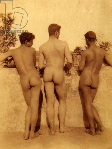 Study of three male nudes, Sicily, C.1900 (sepia photo)